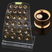 Rose Gold Platted Bezel Set Single Stone Ear Flesh Tunnel in Tray