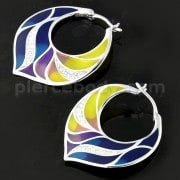 Micro jeweled CZ Colorful Enamal Floral Sterling Silver Ear Hoop Ring