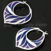 Colorful Enamal Floral Micro jeweled CZ Sterling Silver Ear Hoop Ring