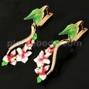 Micro jeweled CZ Rose Gold Platted Sterling Silver Floral Flower Enamel Earring