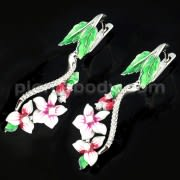 Micro jeweled CZ Rhodium Platted Sterling Silver Floral Flower Enamel Earring