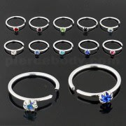 925 Sterling Silver Flower Set Jeweled Nose and Ear Tragus Ring
