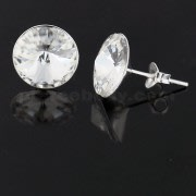 925 Sterling Silver 11 mm Round AAA Quality Stone Ear Stud Earring