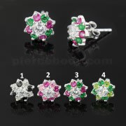 925 Sterling Silver 10 mm Mixed Colors Flower Ear Stud Earring