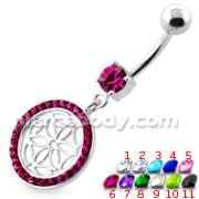 Flower Cut out in Multi Jeweled Round Frame navel ring