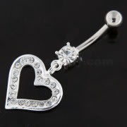 Dangling Multi jeweled Heart Belly Button Bar