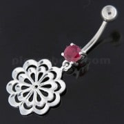 Fancy Single Stone Jeweled Dangling Belly Ring