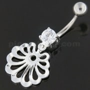 Fancy Jeweled Dangling Single Stone Belly Ring