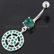 Sterling Silver Multi jeweled Round Pattern Belly Ring