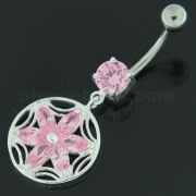 Sterling Silver Dazzling Flower Filigree Navel Bar