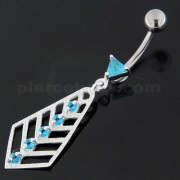 925 Sterling Silver Jeweled Arrow cut out Belly Button Ring