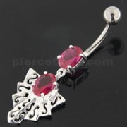 925 Sterling Silver Twin Jeweled chandelier Belly Button Ring