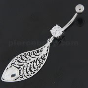 925 Sterling Silver Attractive leaf Belly Button Ring