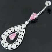 925 Sterling Silver Multi flowers in Tear Shape Belly Button Ring