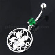 925 Sterling Silver Floral Flower Navel Belly Ring