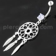 Sterling Silver Star Cut out Dream Catcher Navel Belly Piercing