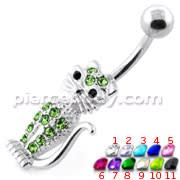 Jeweled Cat silver belly bar