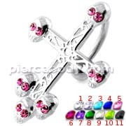 Skull Head Crucifix Sterling Silver Belly Bar