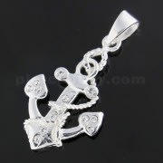 925 Sterling Silver Jeweled Anchor with Rope Pendant