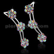 925 Sterling Silver Pink AB Tri Flower Ear Pin Stud
