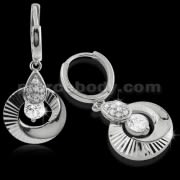 925 Sterling Silver Dangling Circle Cubic Zirconia Hoop Ear Ring