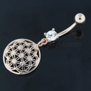 Dangling Flower of Life Navel Belly Button Bar