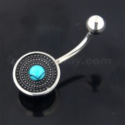 Surgical Steel Tribal Dots with Turquoise Bead Belly Button Piercing