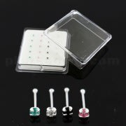 925 Sterling Silver 2 mm Geniune Cubic Zirconia Nose Bone Stud in Box