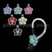 925 Silver Colorful Flower Nose Screw