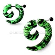 Black Pattern in Green Spiral Fake UV Ear Taper