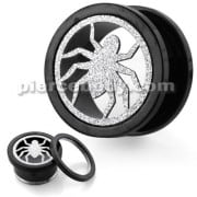 PVD Black Plated with Steel Matt Spider Motive Flesh Tunnels