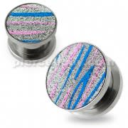 Pink and Blue Stripes on Glitter Flesh Tunnels
