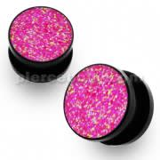 Acrylic Black Glittering Pink Screw Fit Flesh Tunnel