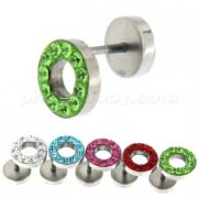 Multi Jeweled 10 mm Flat Disc with Hole Invisible Ear Plug