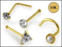 14K Gold Nose Piercings