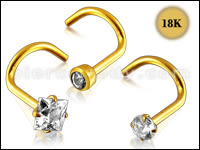 18K Gold Nose Piercings