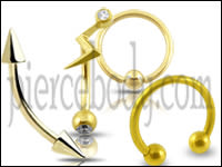 14K-Gold Eyebrow Rings
