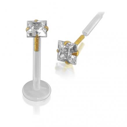 BioFlex Lip Labret with 14K Gold Square Head