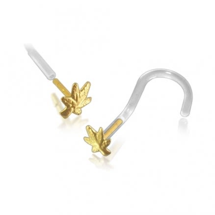 Bio-Plast Nose Screw with Marijuana Leaf Shaped 14K Gold Head