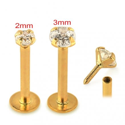 14K Gold Internal Thread Lip Labret with Round Jeweled Top