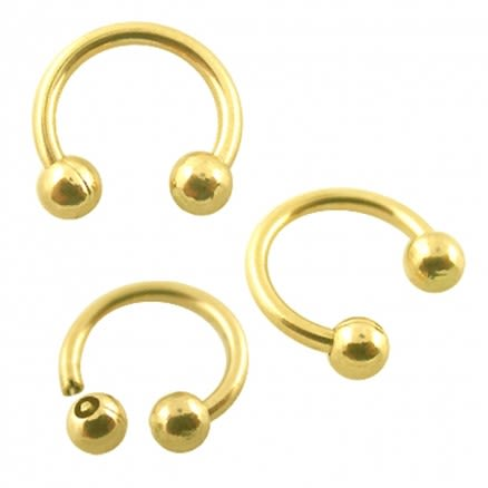 14K Gold Circular Barbell with Touch Ball
