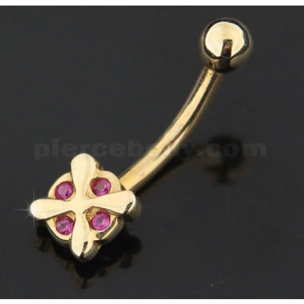 14K Gold  4 Stone Iron Cross Banana Bar Belly Ring