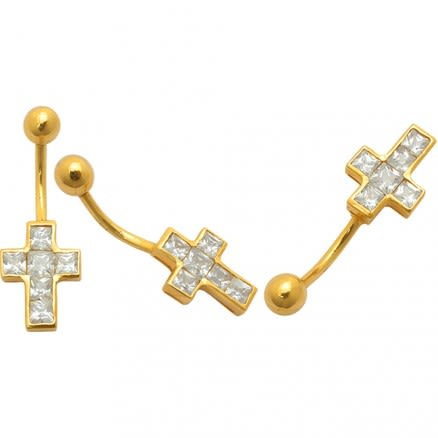 Jeweled Cross 14K Gold Belly Ring