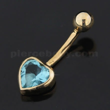 6mm Heart Stone Studded 14K Gold Belly Curved Ring