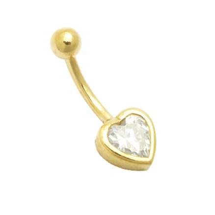 14K Gold Belly Ring 6mm Heart Jeweled
