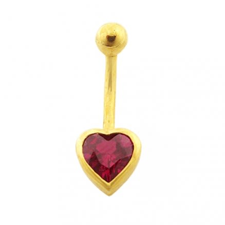 6mm Red Heart Jeweled 14K Gold Belly Ring