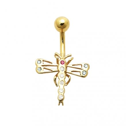 Jeweled Dragonfly 14K Gold Navel Ring