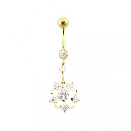 14K Gold Gems Double Layer Flower Hollow dangling Navel Body Jewelry