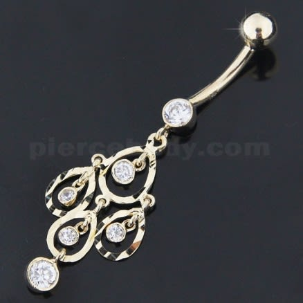 14K Gold Aurora Borealis Cubic Zirconia  Dangle Navel  Ring