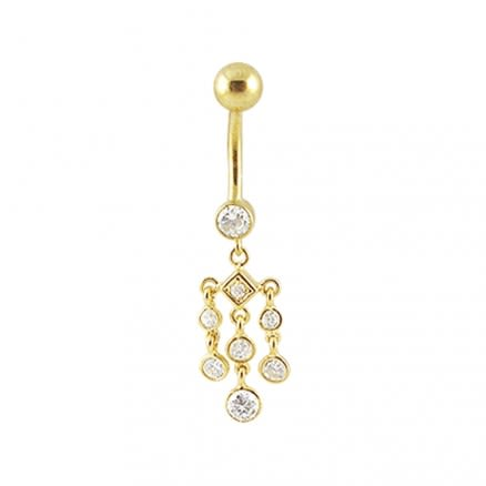 14K Gold Jeweled Dangling Curved Belly Ring